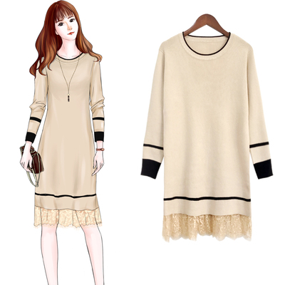 毛衣外套女韩版宽松2018新款秋装女中长款蕾丝拼接针织衫打底衫冬