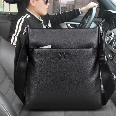 袋鼠男包单肩包2018新款男士包包斜挎休闲多功能潮包商务小背包