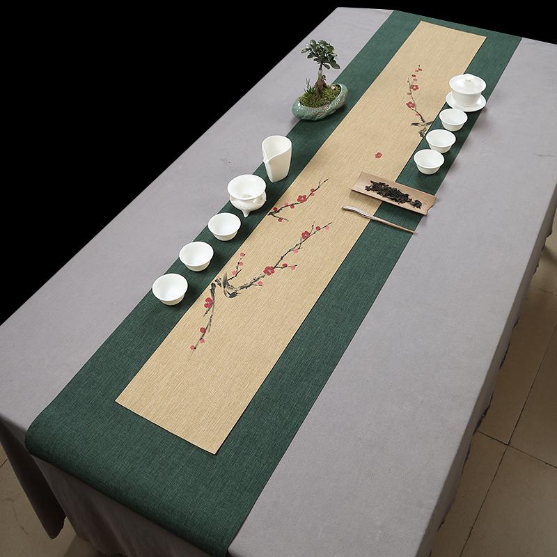 手绘台湾防水茶席桌旗中式禅意茶旗茶道茶垫素雅中国风日式包邮
