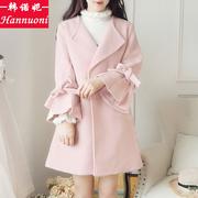 中长款毛呢外套少女秋冬新款中学生韩版甜美收腰时尚小清新上衣潮