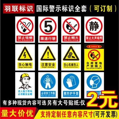 警示安全标识牌消防栓贴纸灭火器严禁烟火禁止吸烟出口指示牌标志