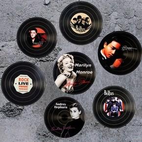 复古工业风创意黑胶唱片软装饰品吉他木质墙面美式酒吧道具