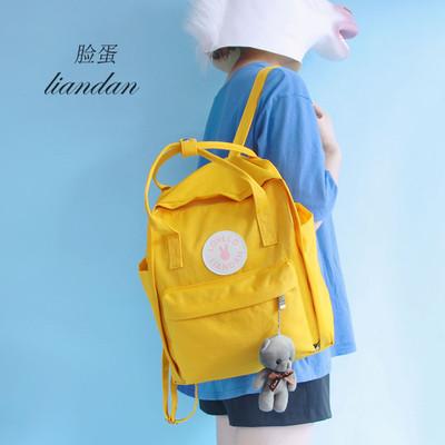2018新款韩版手提双肩包女日系可爱清新大中学生帆布书包旅行背包