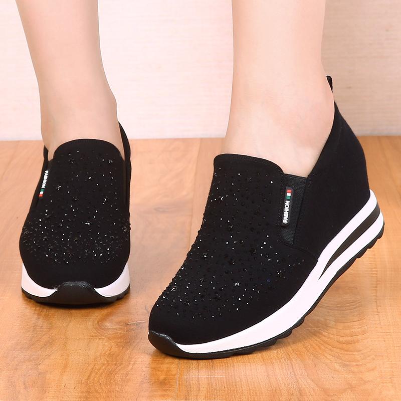 春秋款老北京布鞋内增高女鞋厚底坡跟水钻休闲女单鞋乐福鞋松糕鞋