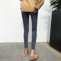 2019 spring and autumn new Korean version of the high waist net red jeans female was thin plus velvet tight feet nine points thin velvet pants