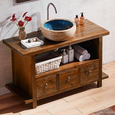 古古拉风仿古田园实木原木榆木洗脸盆卫浴柜 古典中式浴室柜组合