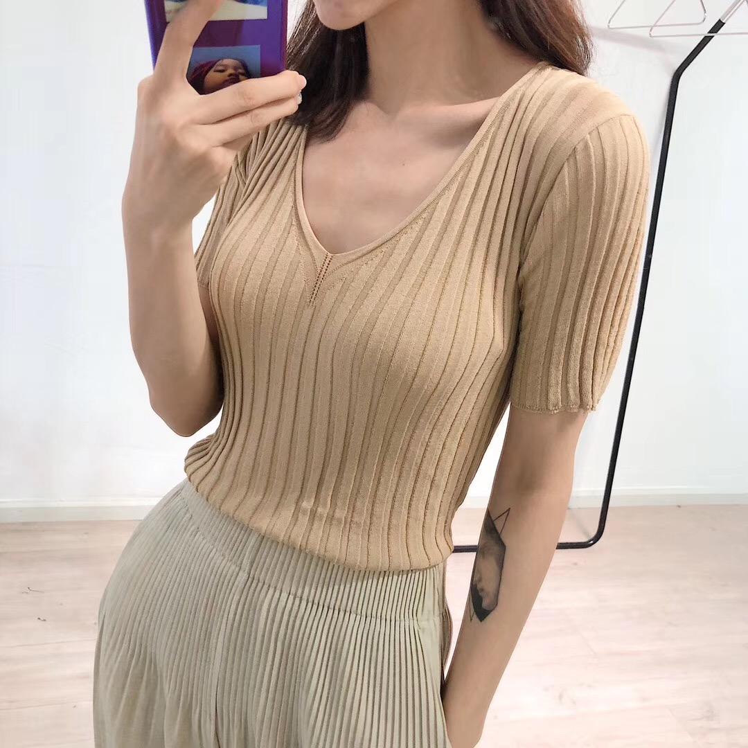 两色沁凉超薄冰丝针织衫防晒短袖T恤女夏修身圆领上衣薄