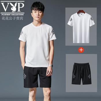 花花公子贵宾2019新款夏季纯棉T恤套装男士运动套装男短袖两件套