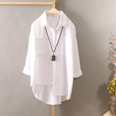春装新品棉麻衬衫女翻领不规则下摆亚麻纯色上衣休闲打底衬衣女装