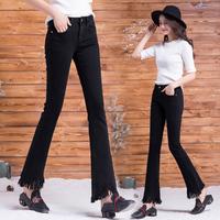 冬季加绒牛仔裤女高腰弹力加厚保暖喇叭裤黑色显瘦流苏微喇长裤