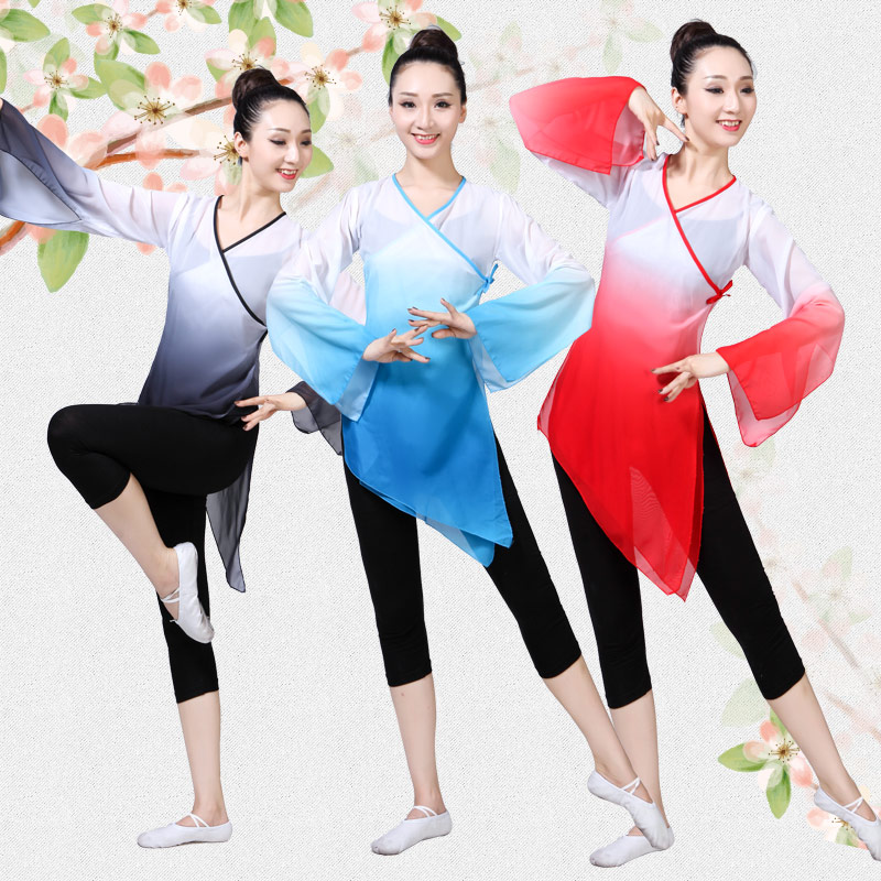Ink dance Classical dance costume female folk dance clothing Yangko clothing practice clothes fan