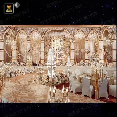 婚庆道具颖美铁艺中式婚礼舞台发光路引道具菱形舞台布置花架婚庆