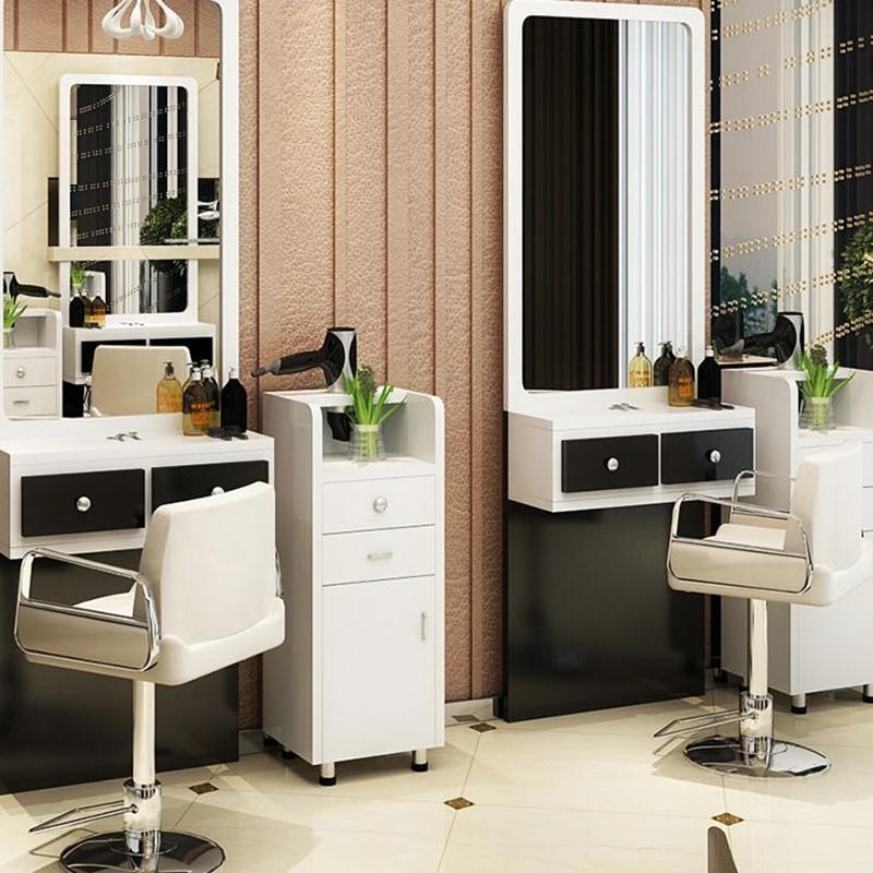 欧式新款美发镜台发廊理发店美发椅子实木柜子美发工具柜落地镜