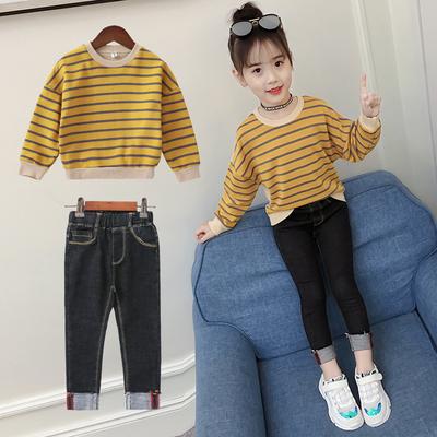 女童套装秋装2018新款韩版秋季童装洋气儿童时髦小脚牛仔裤两件套