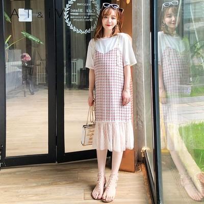 奥蒂沃孕妇装夏装上衣连衣裙蕾丝千鸟格短袖夏季2018新款裙YY79