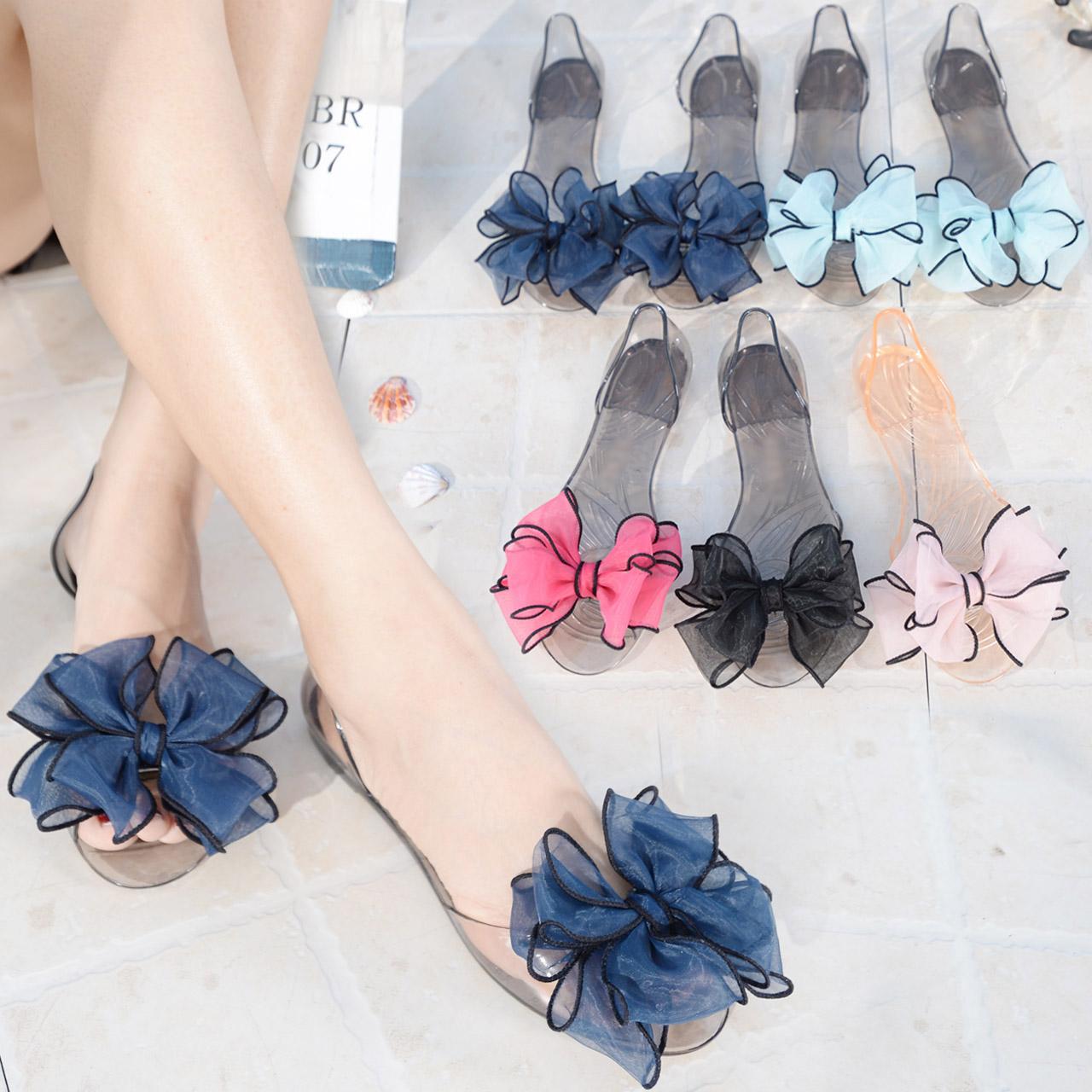 拖鞋女夏时尚百搭外穿平底沙滩鞋新款韩版防滑花朵一字凉拖鞋