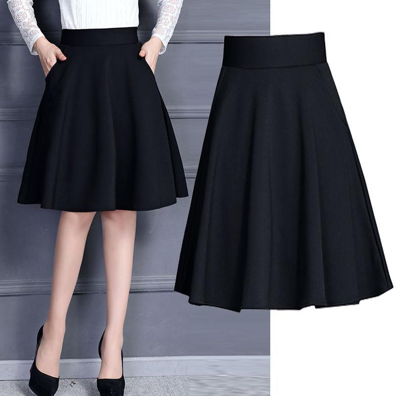 春季半身裙中长款秋冬短裙及膝大码a字裙女口袋安全裤裙子45/55cm