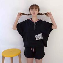 学生宽松卫衣短袖 休闲两件套潮 韩版 运动服套装 新款 短裤 时尚 女夏装