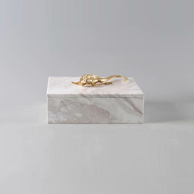 白色大理石首饰盒公主欧式收纳盒结婚生日礼物家居摆件装饰艺术品