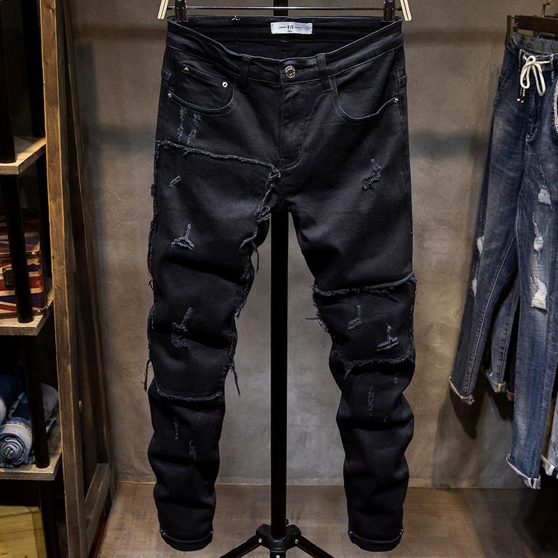 牛仔裤拼接小脚裤