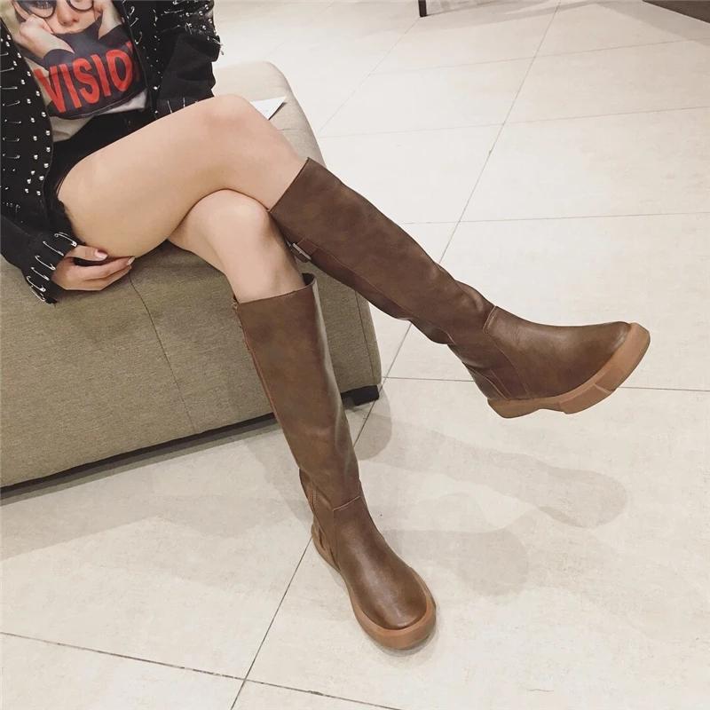 秋冬季皮靴子女2018新款百搭显瘦加绒平底长筒靴骑士靴长靴高筒靴