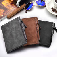 Men's short paragraph vertical multi-function wallet retro Korean version 2018 new youth student personality zipper wallet