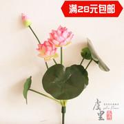 仿真荷花成品睡莲花供佛塑料假绢花客厅落地花艺摆件桌面装饰