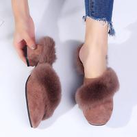 2018秋冬新款女士加厚外穿时尚鞋毛毛拖粗跟半拖包头皮草拖鞋高跟