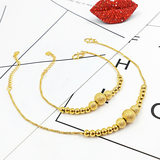 24k gold anklet female new duty-free 999 gold pure gold frosted transfer beads do not fade to send girlfriend gifts