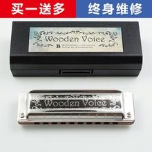 Voice 演奏级蓝调 布鲁斯 WV东非小叶紫檀琴格 Wooden 十孔口琴