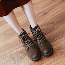 冬季新款雪花漫天美意短靴女加绒中跟女靴粗跟厚底真皮马丁靴2017