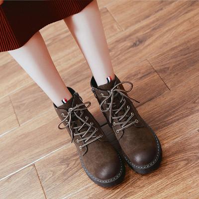 2018新款冬季加绒加厚马丁靴女英伦风短靴子网红平底雪地女鞋爆款