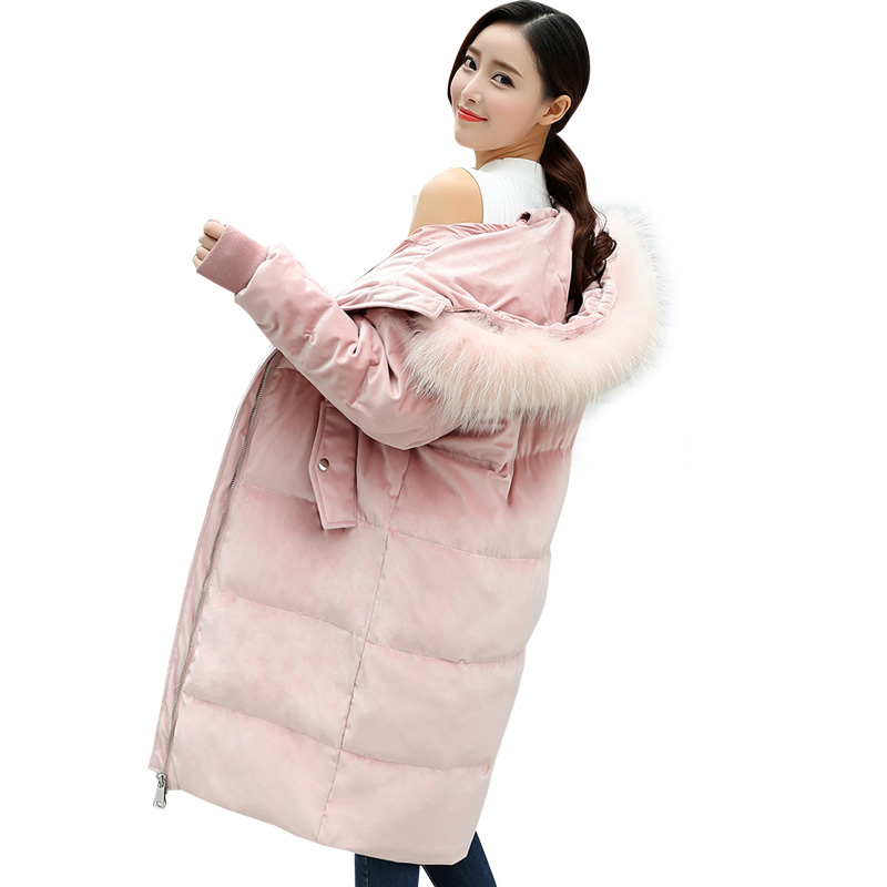 中长款金丝绒棉袄女冬季新款宽松大码学生面包服bf大毛领chic棉衣