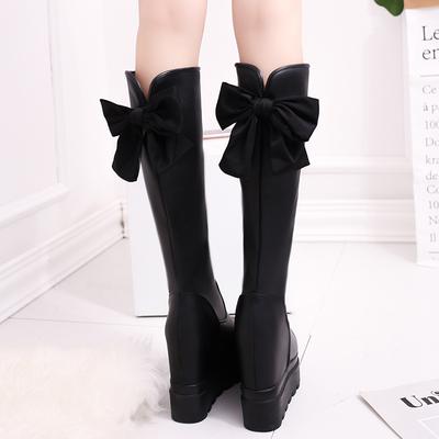过膝女长靴厚底内增高蝴蝶结女鞋秋冬松糕坡高跟靴子女高筒弹力靴