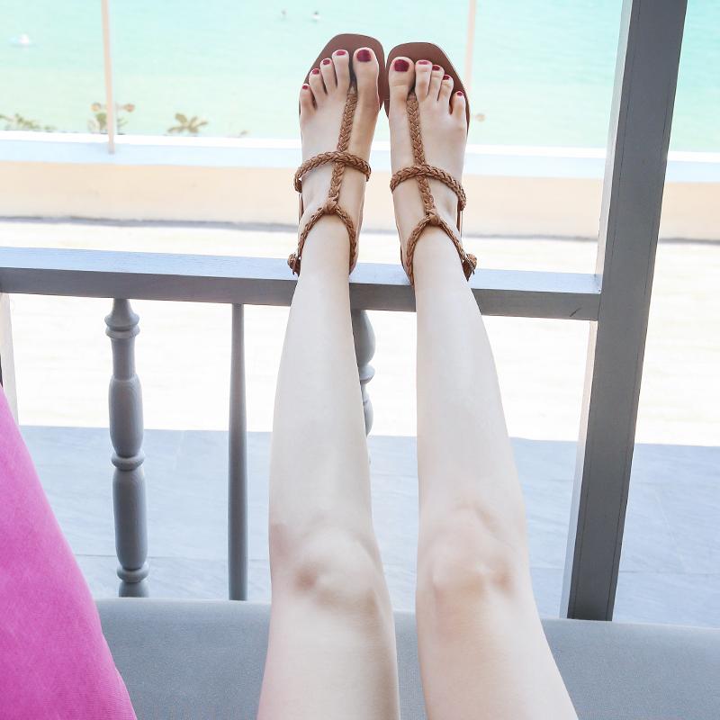 2019新款夹趾凉鞋女仙女风夏季中跟罗马粗跟夹脚人字沙滩百搭方头