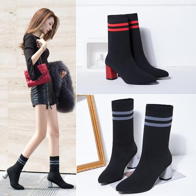 2018秋冬款高跟粗跟显瘦韩版女鞋长靴过膝靴飞织弹力女靴子高筒靴