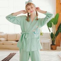 长袖睡衣女和服款系带春秋季家居服宽松韩版大码甜美可爱少女套装