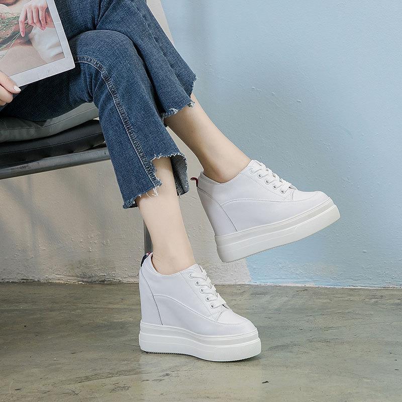 秋季白色内增高女鞋真皮12厘米超高跟小白鞋女坡跟休闲松糕厚底鞋