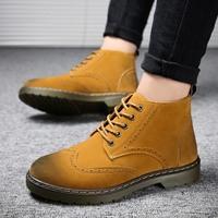 新款中高帮鞋马丁靴男士短靴英伦秋冬季工装男靴子沙漠复古军靴子