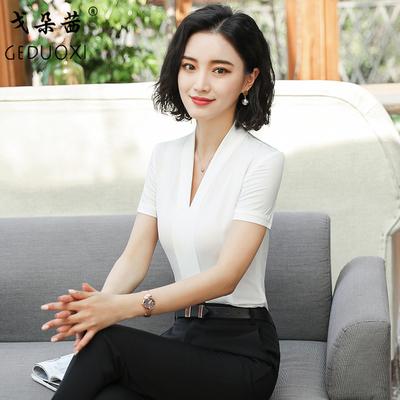 2018新款短袖衬衫女夏职业套裙韩版时尚女士夏季衬衣工作服套裙装