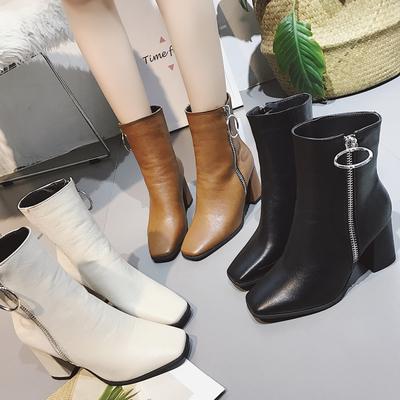 2018欧美新款粗跟马丁靴女靴子方头高跟短靴英伦风百搭中长靴秋冬