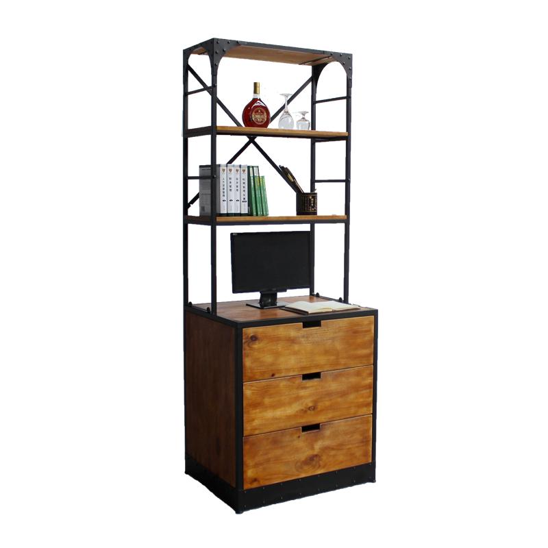 太湖明珠美式铁艺实木书柜书架书桌电脑桌落地架抽屉置物架餐边柜