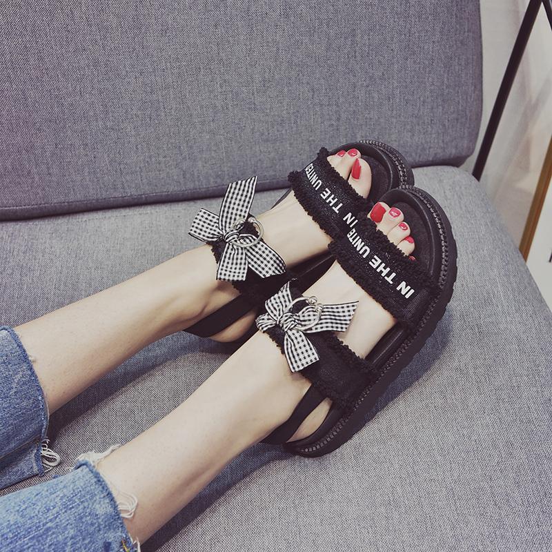 韩版可爱蝴蝶结凉鞋