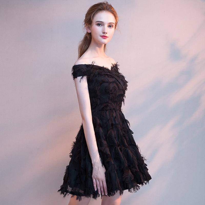 黑色晚礼服新款冬季2018短款显瘦聚会宴会小礼服女生日派对连衣裙