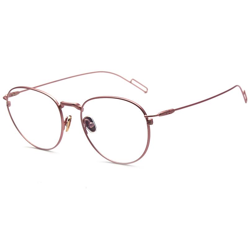 复古可爱学院风学生金属圆框装嫩眼睛架网红女粉色女士近视眼镜框