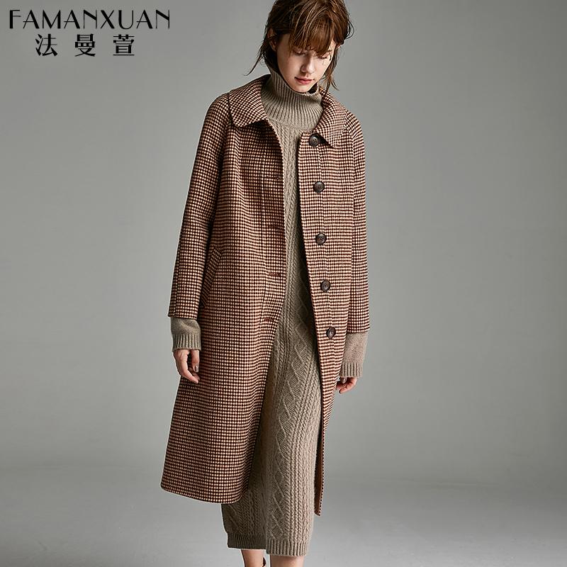 格纹千鸟格羊毛呢大衣