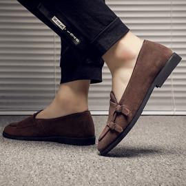 2019新款夏季男士休闲皮鞋韩版真皮百搭透气豆豆鞋英伦一脚蹬男鞋图片