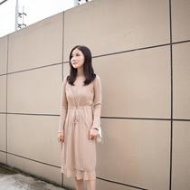 矮小个子150CM小码女装显高中长款高领显高针织连衣裙xs145直筒裙