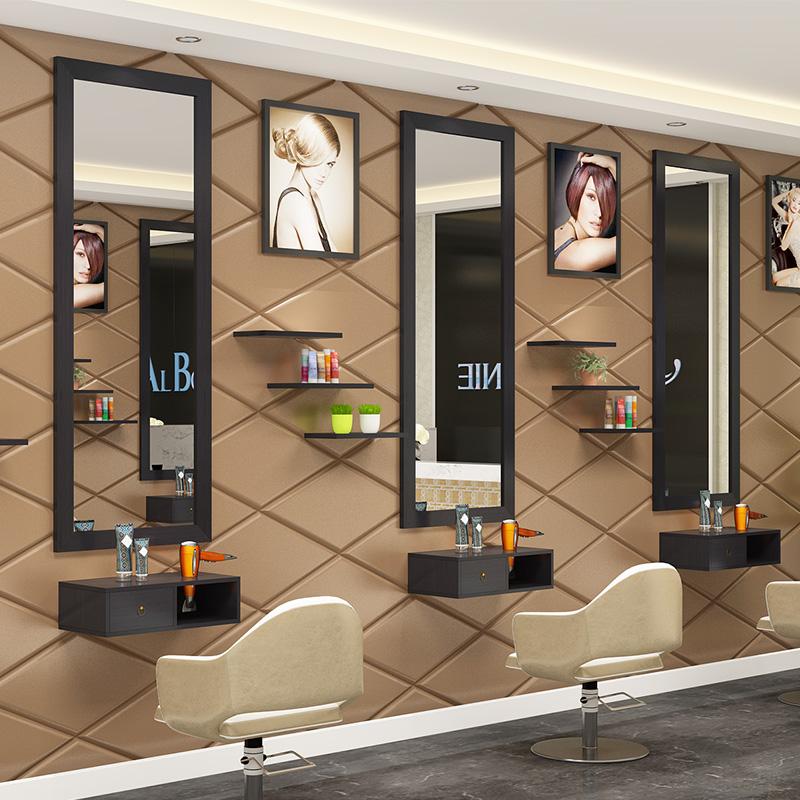 复古理发镜台美发店镜台发廊镜化妆镜子实木单面壁挂式双面落地式