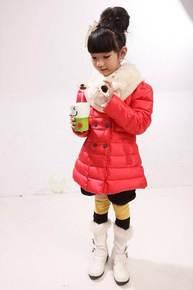 清仓 宫熙辰冬款小熊女童纯真90%白鸭绒柔软轻便中国红色羽绒服